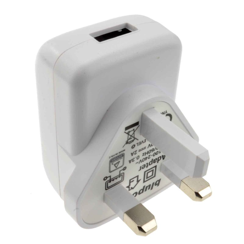 UK Mains Plug Charger to USB for Charging Devices 2000mA 2A WHITE