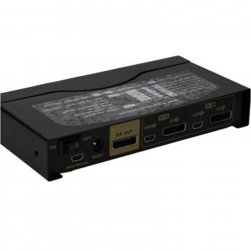 2 Port DisplayPort KVM Switcher Box 4K 60Hz with Cables & Remote Control Metal
