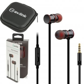 Magnetic In-Ear Headphones with Hands Free Controls & Carry Case Black