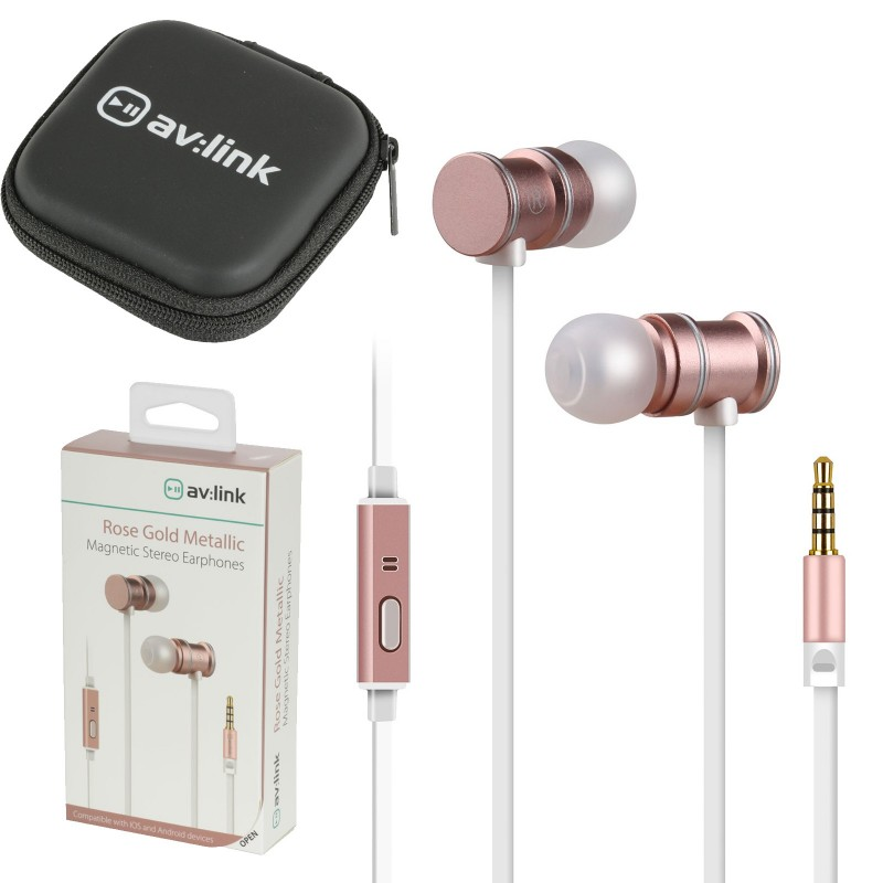 Magnetic In-Ear Headphones with Hands Free Controls & Carry Case Rose