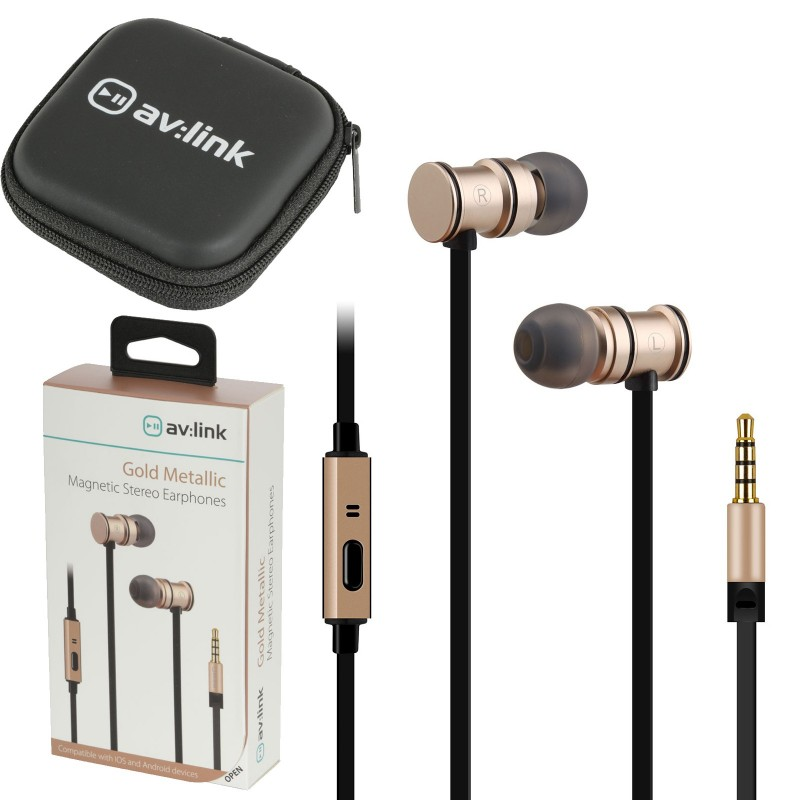 Magnetic In-Ear Headphones with Hands Free Controls & Carry Case Gold