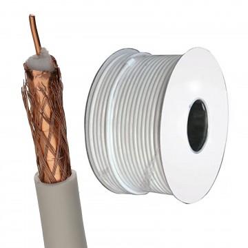 100U Foam Filled Digital Satellite TV Cable OFC Copper Core CCA Braid 100m White