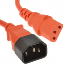 Power Extension Cable IEC Male to Female UPS C14 to C13 0.5m Orange