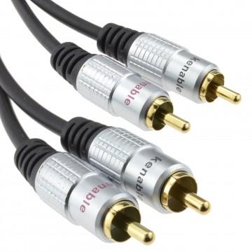 Pro Audio Metal 2 x RCA Phono Plugs to Twin Plugs Cable Lead Gold 2m