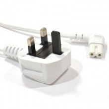 Power Cord UK Plug to Right Angle Figure 8 Lead Cable C7 0.5m WHITE