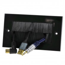 Cable Entry/Exit BRUSH Faceplate for Wall Outlet UK Double Gang BLACK