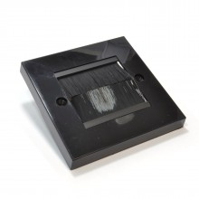 Cable Entry/Exit BRUSH Faceplate for Wall Outlet UK Single Gang BLACK