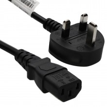Power Cord UK Plug to IEC Cable (PC Mains Lead) C13  1.7m