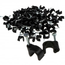 Round Black  7mm Cable Clips Secure Fastenings Cables [100 Pack]
