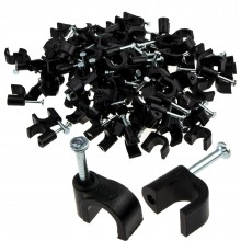 Round Black  6mm Cable Clips Secure Fastenings Cables [100 Pack]