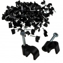 Round Black  5mm Cable Clips Secure Fastenings Cables [100 Pack]