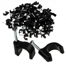 Round Black  8mm Cable Clips Secure Fastenings Cables [100 Pack]