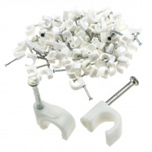 Round White  7mm Cable Clips Secure Fastenings Cables [100 Pack]