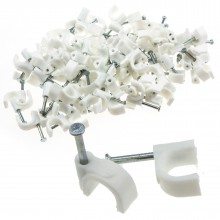 Round White  8mm Cable Clips Secure Fastenings Cables [100 Pack]