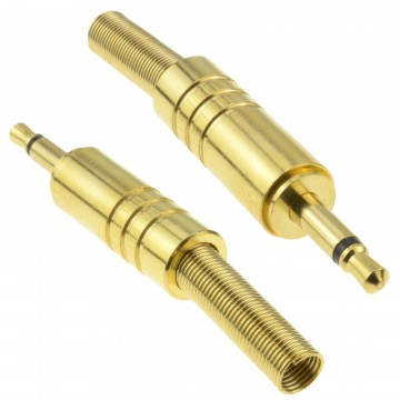 Pair of 3.5mm Mono Solder Terminal with Gold Casing and Strain Relief
