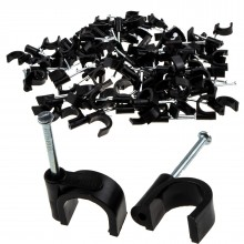 Round Black 12mm Cable Clips Secure Fastenings Cables LARGE...
