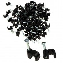 Round Black  4mm Cable Clips Secure Fastenings Cables [100 Pack]