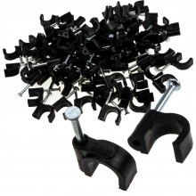 Round Black  9mm Cable Clips Secure Fastenings Cables [100 Pack]
