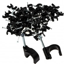 Round Black 10mm Cable Clips Secure Fastenings Cables [100 Pack]