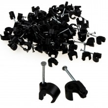 Cable Clip Hook Style  5mm to 7mm Round for Fastenings Cables Black [100 Pack]