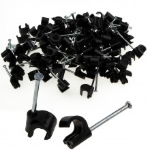 Cable Clip Hook Style  7mm to 10mm Round for Fastenings Cables Black [100 Pack]