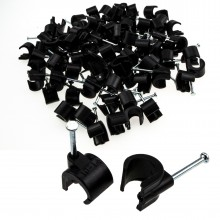 Cable Clip Hook Style 10mm to 14mm Round for Fastenings Cables Black [100 Pack]