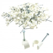 Cable Clip Hook Style  5mm to 7mm Round for Fastenings Cables White [100 Pack]