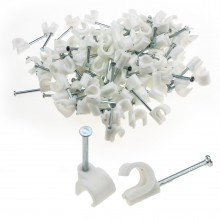 Cable Clip Hook Style  7mm to 10mm Round for Fastenings Cables White [100 Pack]