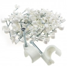 Cable Clip Hook Style  8mm to 12mm Round for Fastenings Cables White [100 Pack]