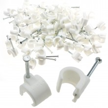 Cable Clip Hook Style 10mm to 14mm Round for Fastenings Cables White [100 Pack]