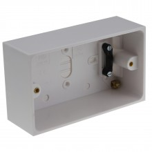 Surface Mount Back Box Pattress Box 2 Gang 47mm with Cable Holder EARTHED