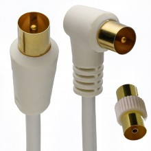 RF Right Angle TV Aerial Freeview Plug Video Cable & Coupler GOLD  2m White