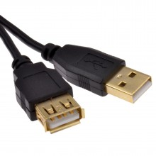 GOLD USB 2.0 EXTENSION Lead 24AWG High Speed Cable A Plug to Socket 1.8m
