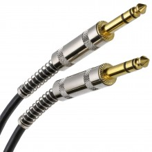 GOLD Stereo/Balanced Jack 6.35mm METAL Plugs Cable Lead Black  0.5m
