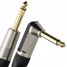 GOLD Right Angle MONO Jack 6.35mm Guitar/Amp LOW NOISE Cable Lead  6m