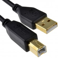 GOLD 24AWG USB 2.0 High Speed Cable Printer Lead A to B BLACK 2m