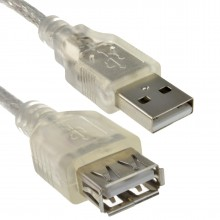 CLEAR USB 2.0 Extension Cable A to A Female Lead 24AWG Ferrite 1m