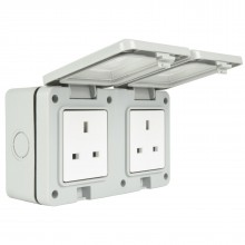 Double Gang Weatherproof 2 x 3 Pin UK Power Socket Outdoor Outlet IP55 White