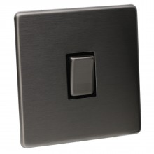 1 Gang 2 Way 10A Light Switch Screwless Plate with Brushed Chrome Finish