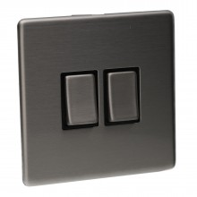 2 Gang 2 Way 10A Light Switch Screwless Plate with Brushed Chrome Finish