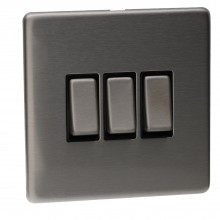 3 Gang 2 Way 10A Light Switch Screwless Plate with Brushed...