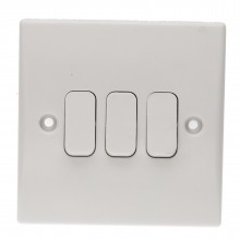 3 Gang 2 Way 10A Triple Light Switch Rounded Faceplate White