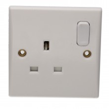 1 Gang 13A Switched UK Mains Power Rounded Faceplate White