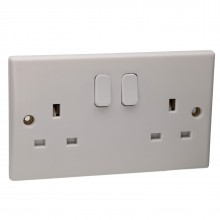 2 Gang 13A Switched UK Mains Power Rounded Faceplate White