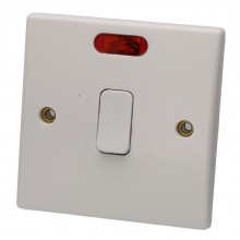 1 Way Double Pole 20A Switch with Neon Light Rounded Faceplate...