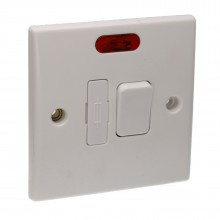 Switched Fused Spur Double Pole 13A Rounded Faceplate White