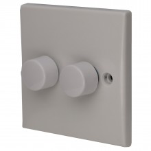 2 Gang 1 Way LED Dimmer LED Light Switch Rounded Faceplate White