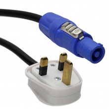 Neutrik Powercon NAC3FCA 20A with 13A 3 pin UK Mains Plug 1.5m