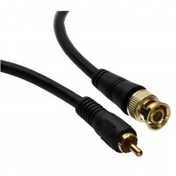 Pure Copper CCTV BNC to Phono Plug Cable Gold Connectors  1m