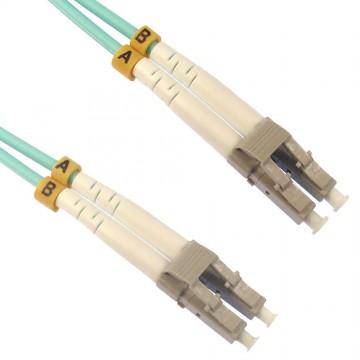 OM4 Aqua Fibre Optic LC LC Duplex MM 50 125 Patch LSZH Cable  30m